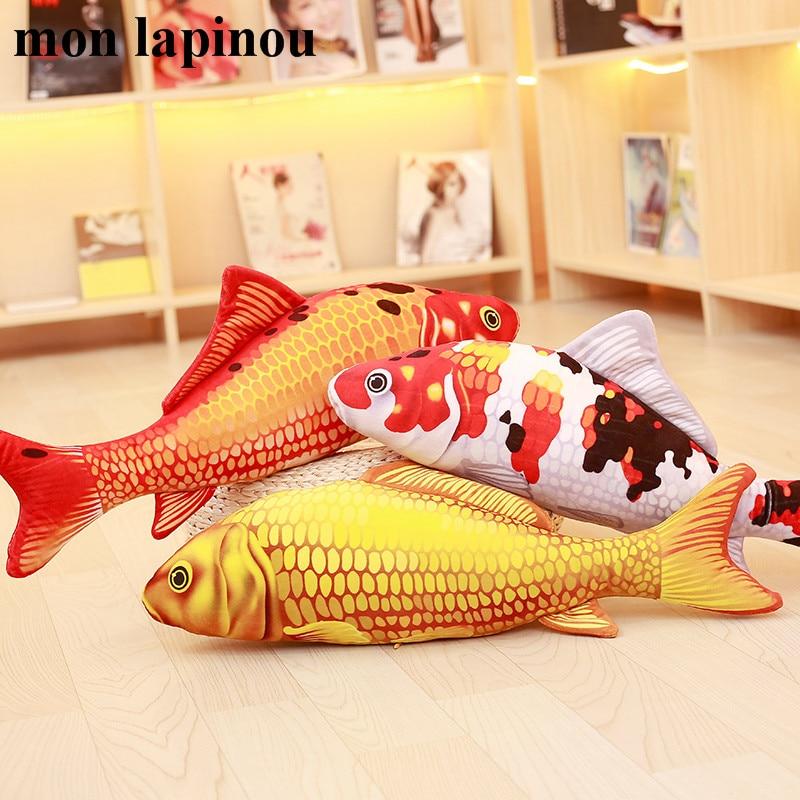 Плюшевые игрушки Koi, мягкая Рыбка, кукла, мягкая подушка Koi, плюшевая подушка в виде золотой рыбки, игрушки для кошек