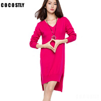 High Qaulity Winter Dresses for Women European Style Women Fall Dresses Wool Knitted Long Sleeve High Slit Ribbed Loose Dress