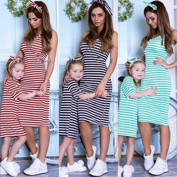 Striped Mother and Daughter Matching Dresses Family Look Mommy and Me Clothes Mom Mum Baby Girls Dress Family Matching Outfits