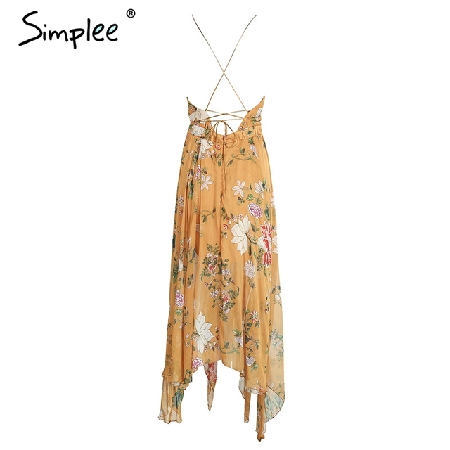 Simplee Sexy cross lace up backless print summer dress women Deep v neck sleeveless long dress Party robe femme vestidos