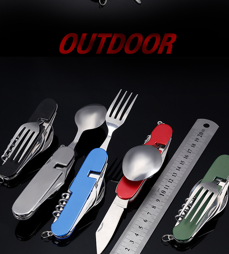 Outdoor Camping Stainless Steel Folding Backpack Picnic Spork Cooking Multi Tool