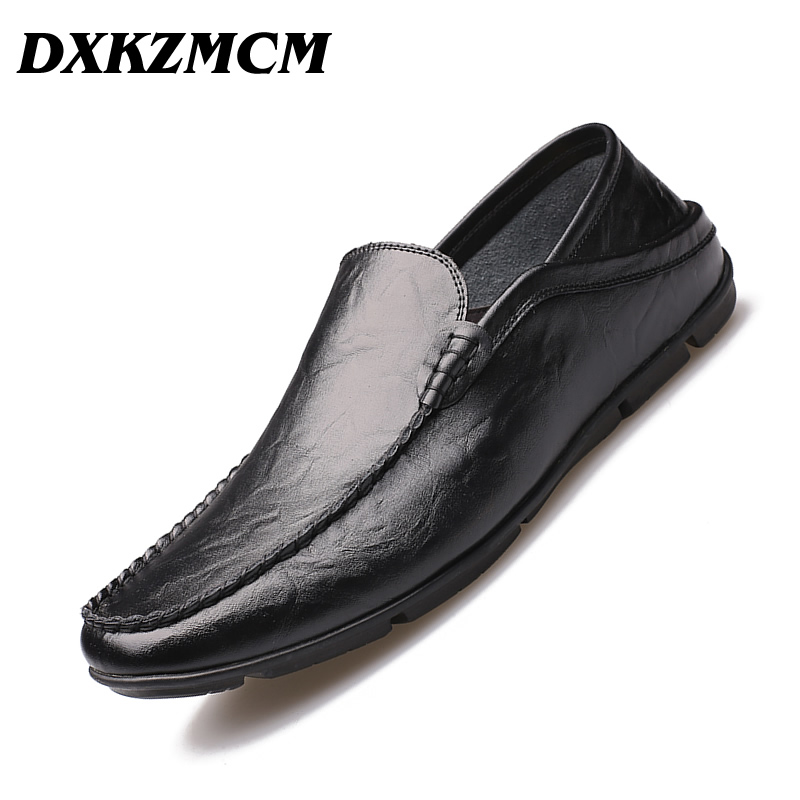 DXKZMCM Men Loafers Breathable Genuine Leather Shoes For Man Driving Shoes Moccasins Business Boat Men Shoes