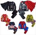 Детская хлопка мультфильм капитан америка железный человек паук - человек пижамы мальчиков пижамы дети супер герои + плащ установленные одежды