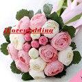Artificial Peony Bouquet Do Casamento romântico Com Robbon Rosa e Verde Mulheres 2016 Buque de noiva Acessórios Para Noivas Flores Vestido