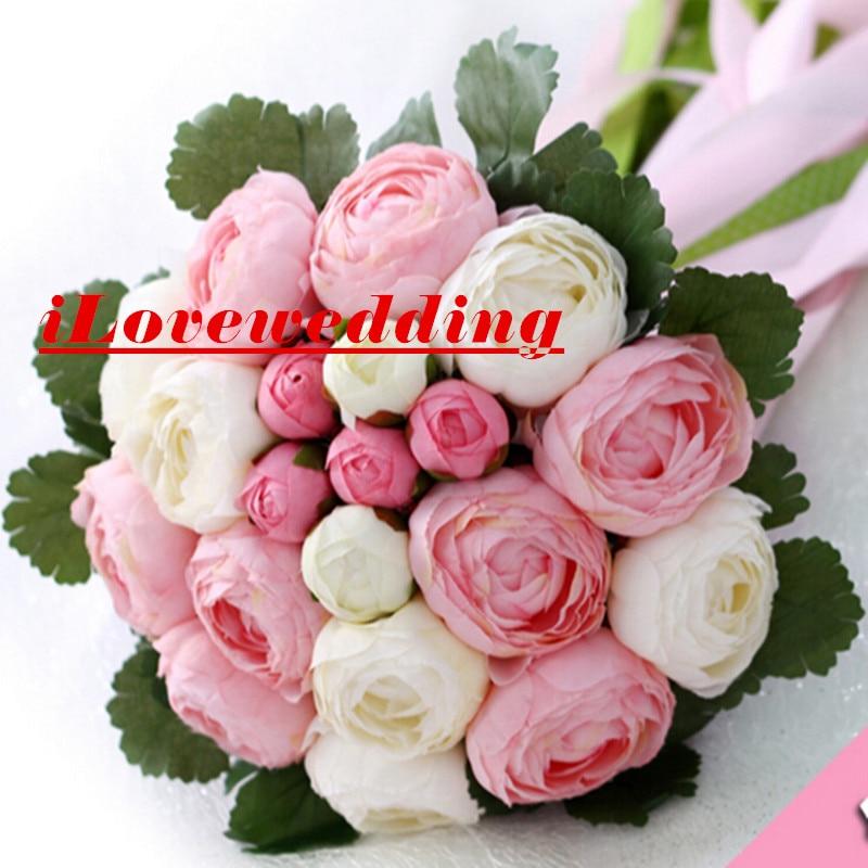Romantisk Bryllup Bouquet With Ribbon Kunstig Peony Pink og Grøn Kvinder 2016 Buque De Noiva Bryllup Tilbehør Blomster Kjole