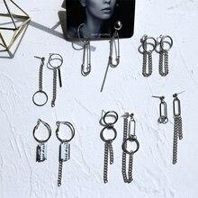 Trendy simple metal chain tassel earrings punk geometric asymmetrical round women Ear clips Jewelry Accessories gifts