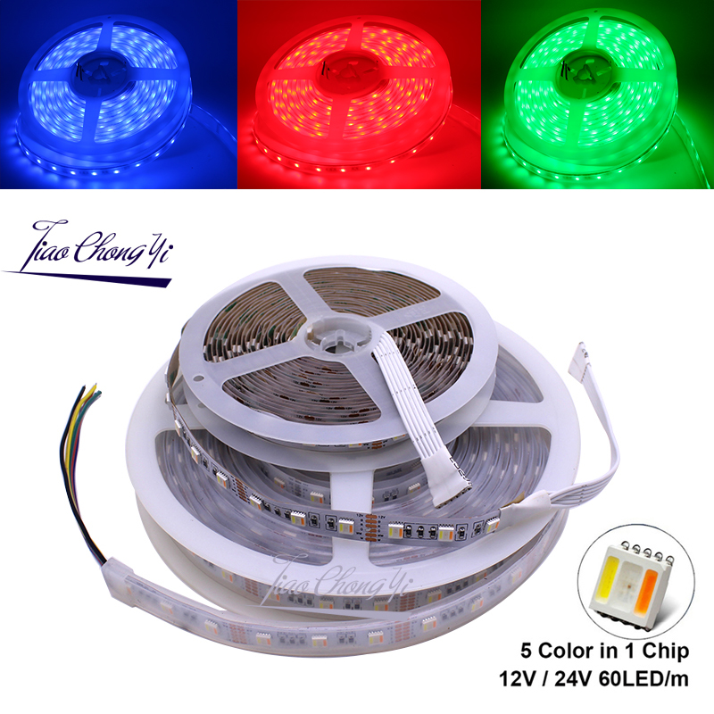 RGBCCT LED Strip 5050 12V / 24V 5 Color in 1 Chips RGB+WW+CW 60 LEDs/m 5m/lot RGBW LED Strip Light 5m/lot.