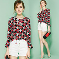2017 Spring Fashion Silk Women Shirt Long Flare Sleeve Slim Blouse O-Neck Bow Print Floral Tops