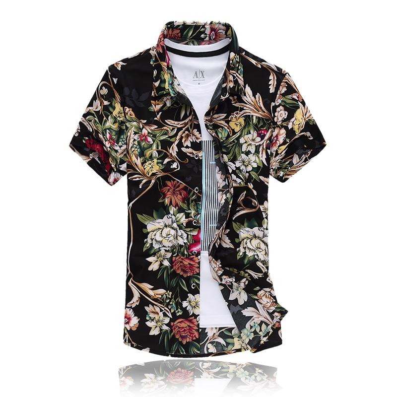 f4a1c889d6ad1 جديد 2017 الصيف زائد حجم 7xl السببية الرجال قميص الأزياء رجل الأزهار طباعة  اللباس قمصان الرجال camisa الغمد أوم DCS17