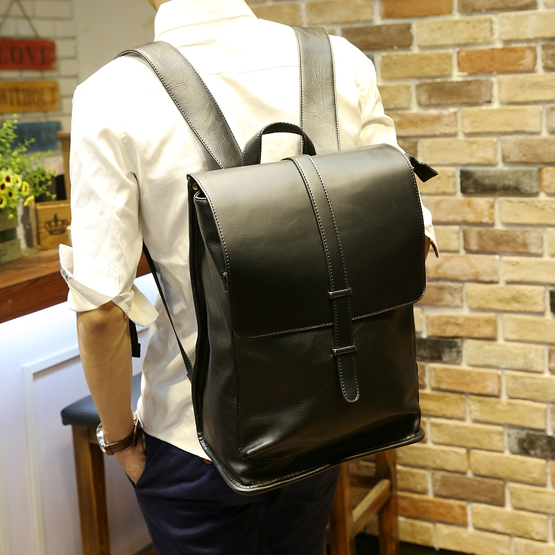 Men PU Leather Backpack For Laptop Male Business Mochilas Couro Masculina Motorcycle Back Pack Travel Rucksack School Book Bag ранец grizzly grizzly ранец школьный оливково черный