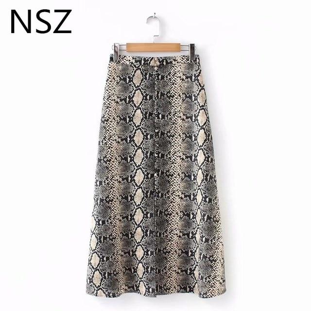 NSZ Women Snake Print Animal Skirt Sexy Split A-Line High Waist Autumn 2018 New Casual Mid-Calf Skirt