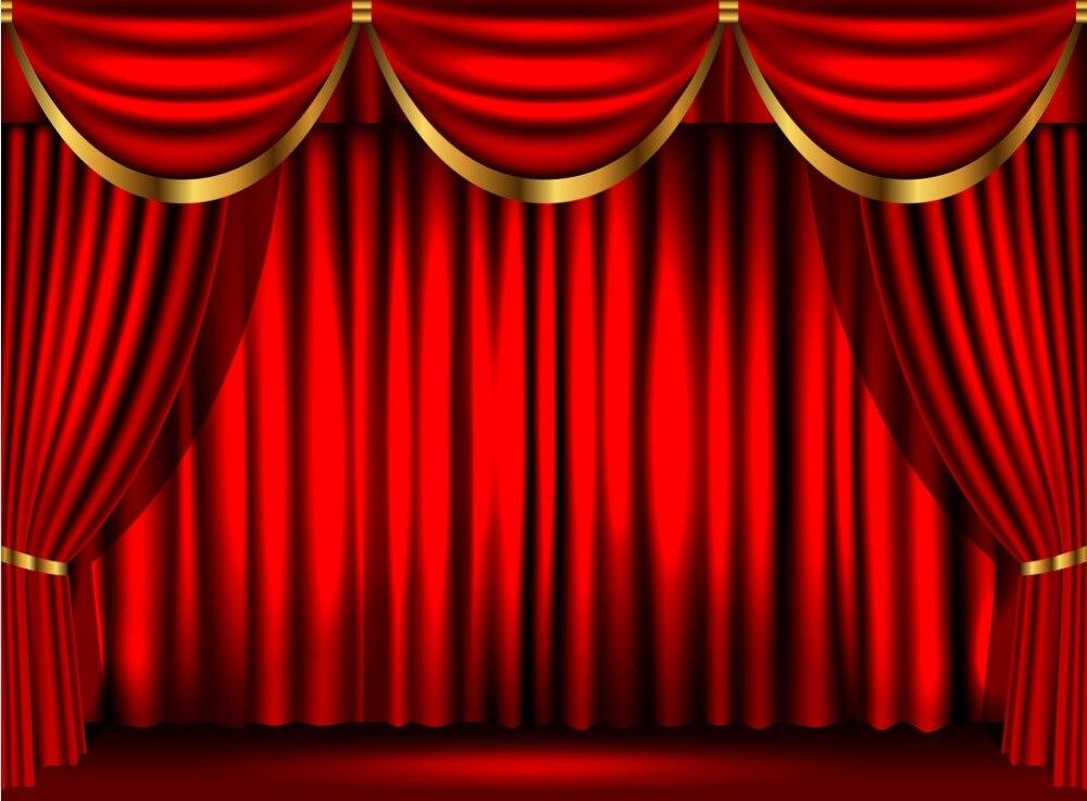 Cortina Cortina De Palco Do Teatro 7x5FT Vermelho Escuro