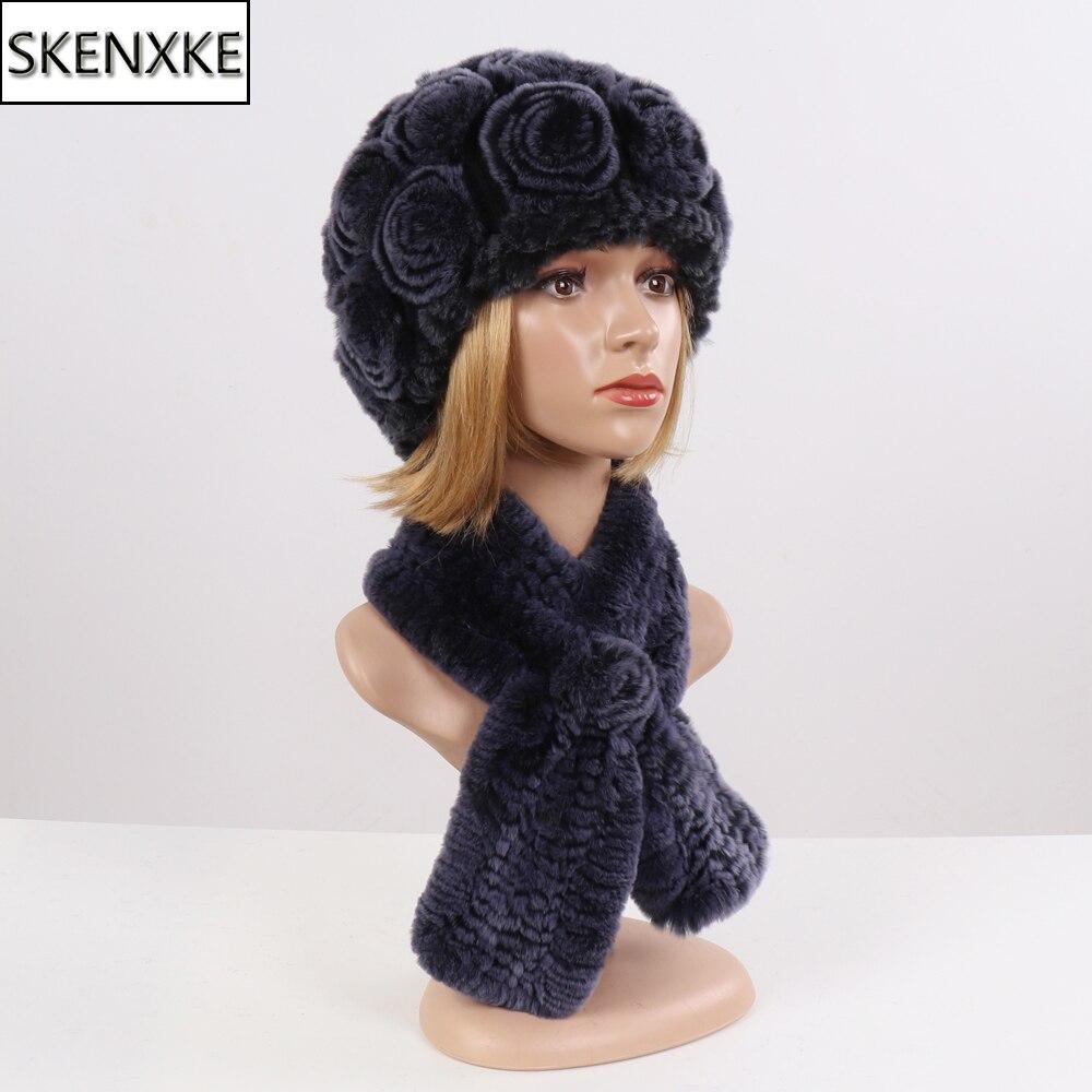 New Lady Floral Real Rex Rabbit Fur Hats Scarves Sets Winter Women Real Fur Scarf Hat Knit Good Elastic Natural Fur Muffler Hat