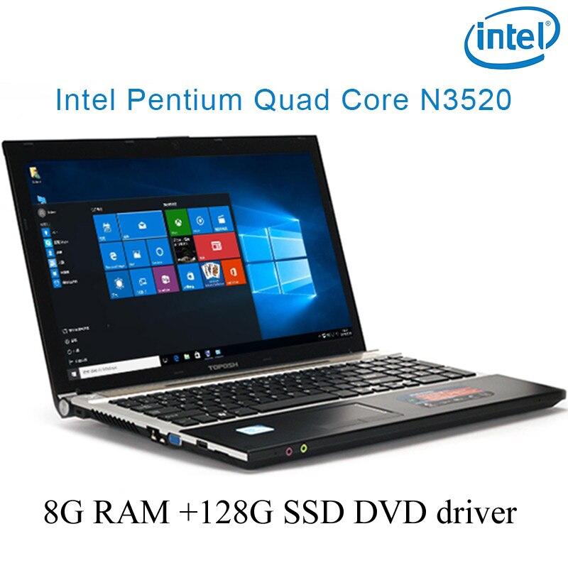 """מחברת מחשב P8-01 שחור 8G RAM 128g SSD Intel Pentium N3520 15.6"""" מחשב מחברת המשחקים הנייד DVD הנהג HD מסך עסקים (1)"""