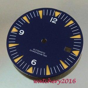 Image 1 - Neue 31mm blau zifferblatt weiß Zahlen datum fenster fit automatische bewegung herren Uhr zifferblatt