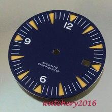 Nouveau 31mm cadran bleu blanc chiffres date fenêtre ajustement automatique mouvement montre pour hommes cadran