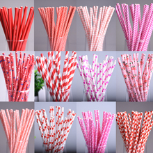 25pcs/lot Red Square Dot heart Paper Straws for Birthday Wedding Decorative Party Environmental Chevron Creative Drinking Straws(China)