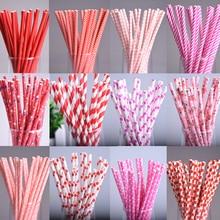 25pcs lot Red Square Dot heart Paper Straws for Birthday Wedding Decorative Party Environmental Chevron Creative