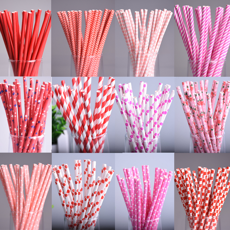 25pcs/lot Red Square Dot heart Paper Straws for Birthday Wedding Decorative Party Environmental Chevron Creative Drinking Straws