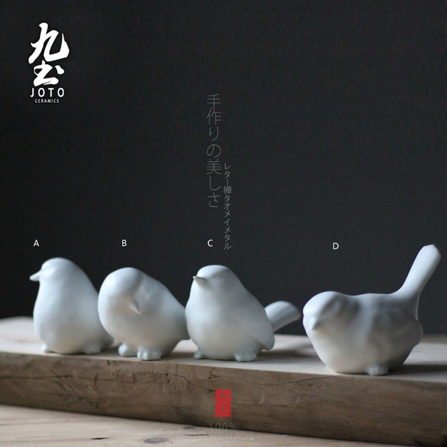 4pcs Cute Ceramic Bird Figurines Home Decor Kawaii Ornament Crafts Room Decoration Porcelain Animal