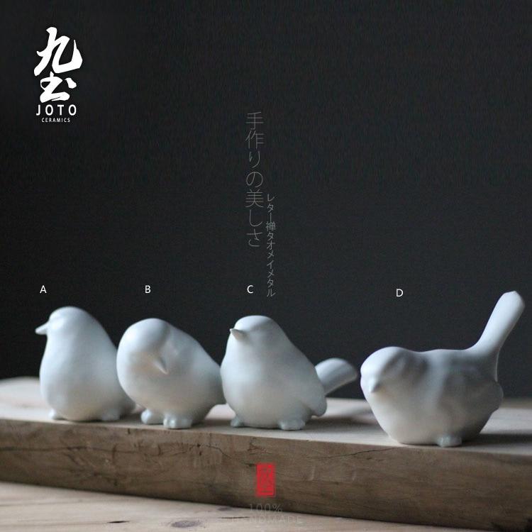 4pcs Cute Ceramic Bird Figurines Home Decor Ceramic Kawaii Ornament Crafts Room Decoration Porcelain Animal Figurines Gift
