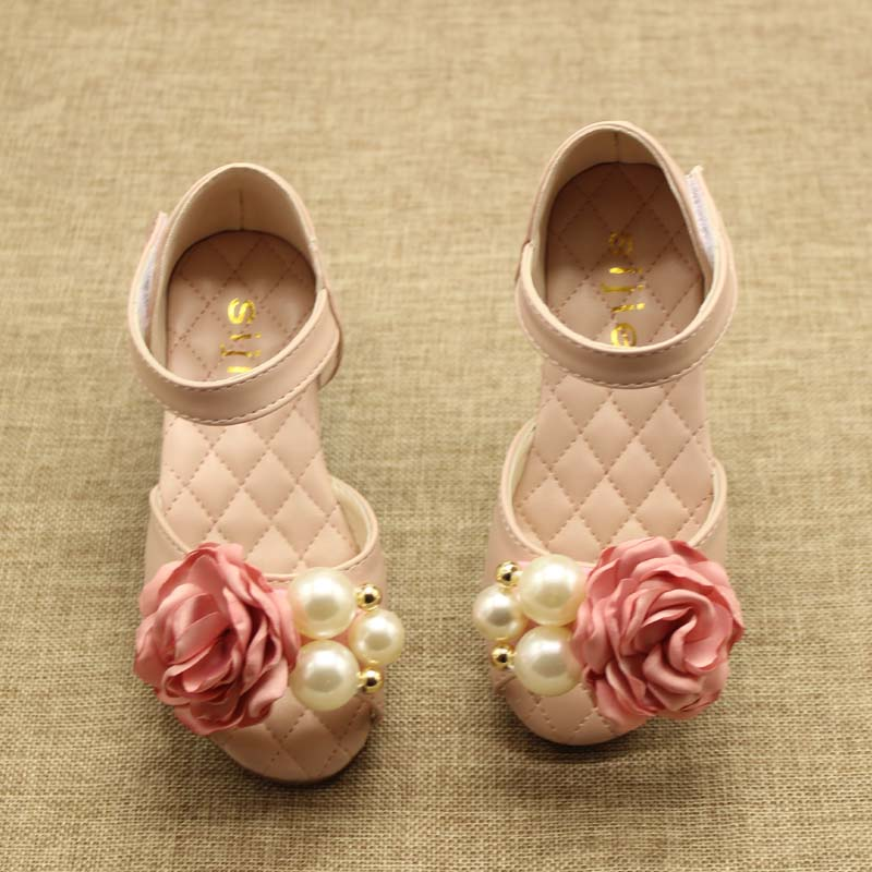 children leather girls shoes summer beach sandals flower pearl princess shoes for kids sandals girls party wedding shoes tx55