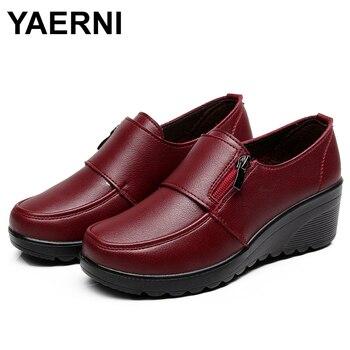 YAERNI 2019 di Autunno della Molla di modo delle Donne di Pompe scarpe da donna genuino zeppa in pelle singolo scarpe scarpe casual madre di alta tacchi shoesE887 1