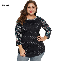 TUHAO 2019 Womens Tops and Blouses Plus Size 5XL 4XL 3XL Vintage Dot Print Female Blouse Top Large Size Clothing for Mom DLM