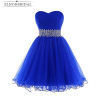 Royal Blue Cocktail Dresses 2019 Sexy Robe Cocktail Courte Chic Real Images Short Prom Dress Girls Homecoming Gowns