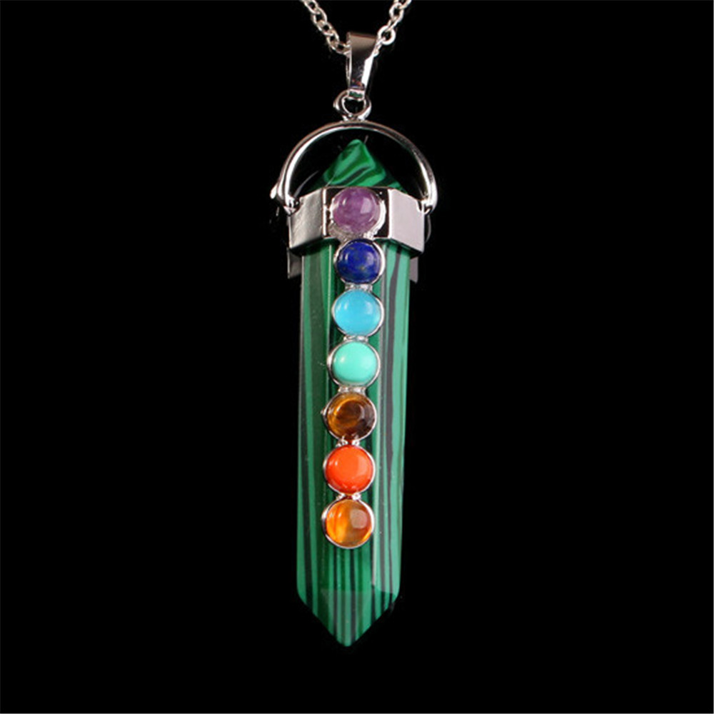 High Quality New Women Ladies Fashion Popular Natural Pink Crystal Pendant with 7 Different Chakra Beads Health Healing Jewelry