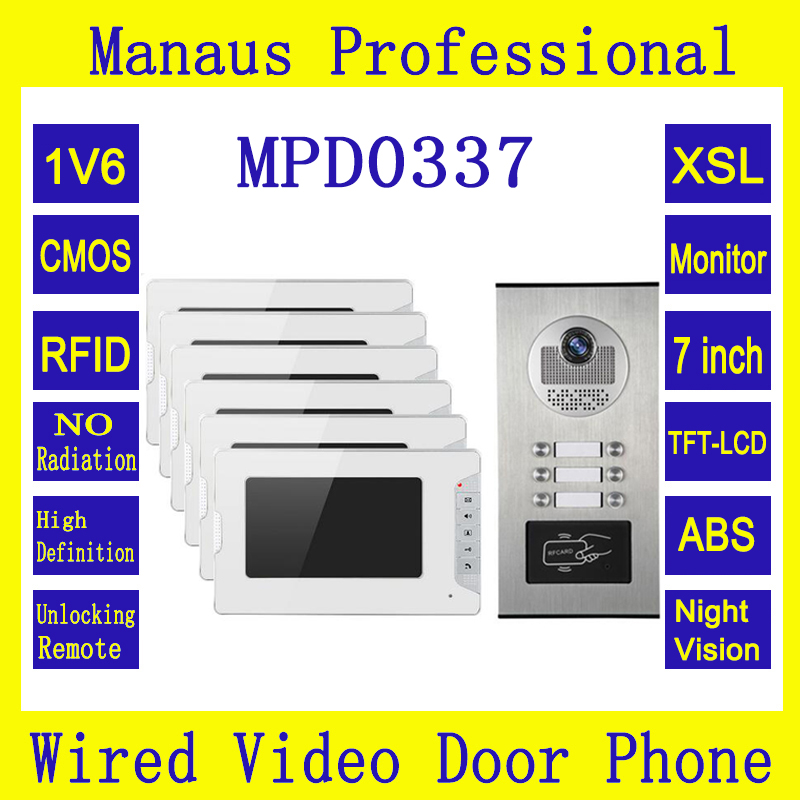 High Quality Multi Apartments Building Intercom System RFID Control Video Door Phone with Six 7 inch Screen Indoor Monitor D0337