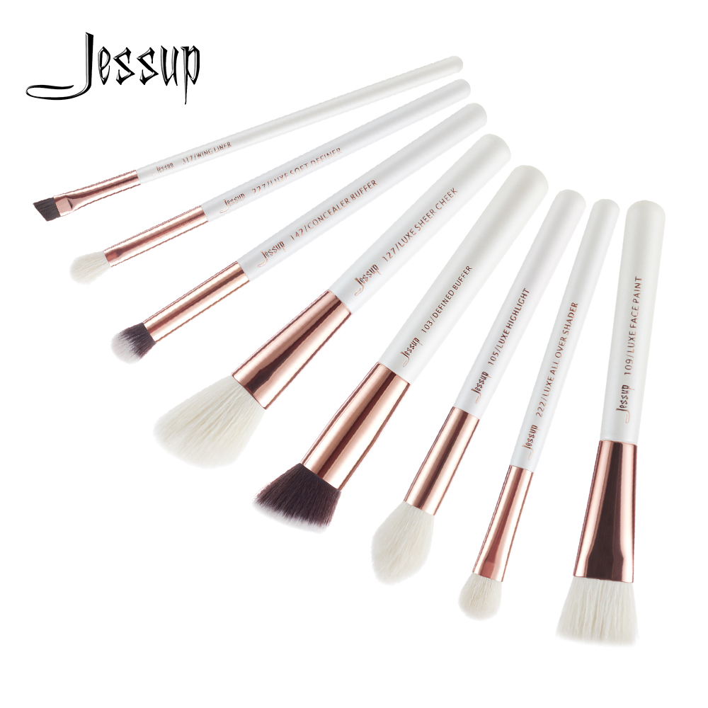 где купить Jessup Brushes 8pcs Pearl White/Rose Gold Pro Makeup Brushes Set Makeup Brush Tools kit Buffer Paint Cheek Highlight T219 по лучшей цене
