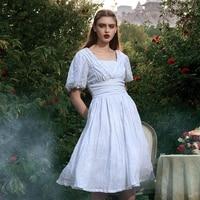 Original Design Summer Vintage Victoria Goddess Elegant Slim V Neck Lantern Sleeve White Peru Imported Ramie Knee Length Dress