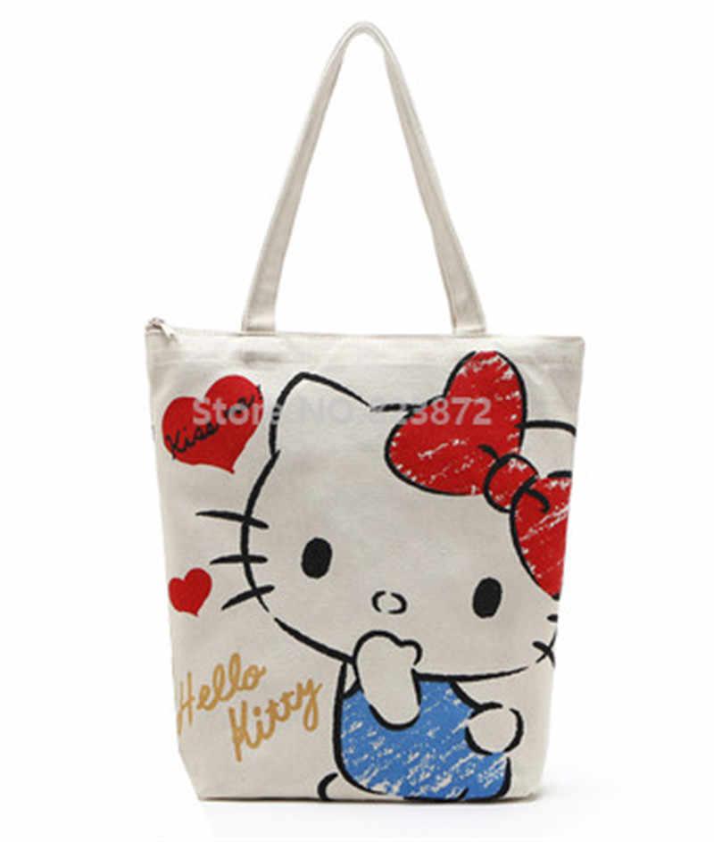 664cb0741 ... Cute Hello Kitty My Melody Canvas Shoulder Bags Reusable Shopping Bag  Zipper Women Tote Handbag Cartoon ...