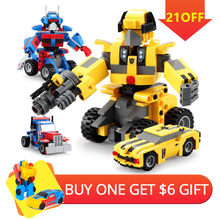 2019 2-in-1 Transformation Robot Car Truck Building Blocks Bricks Set fit Legoed Technic City Series Deformation Vehicle Kid Toy(China)