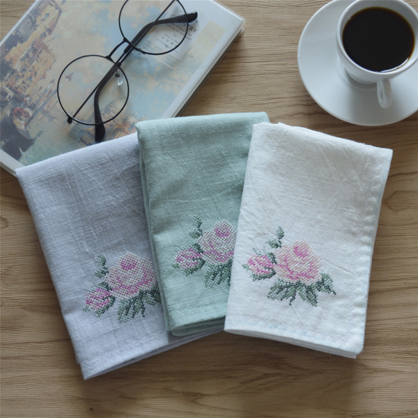 Time ~ Still Open Embroidery Flower Pretty Woman Handkerchief Silk Art Set Small Pure And Fresh And Absorb Time! The Wedding