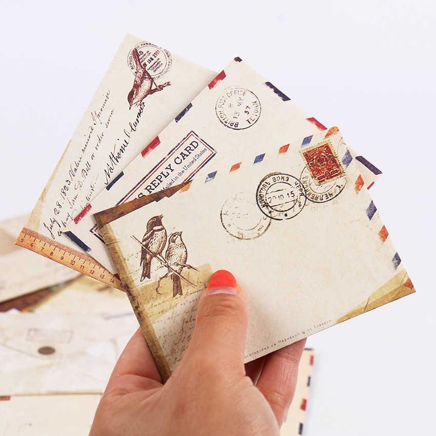 Nouveau Vintage papier enveloppes Style ancien cadeau lettre Pad Pack bureau école approvisionnement Mini enveloppe papier carte enveloppes 12 pièces/ensemble