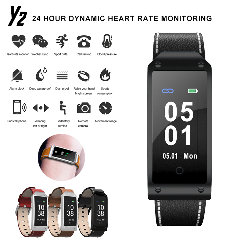 <font><b>Y2</b></font> Bluetooth Smart Watch Waterproof <font><b>Smartwatch</b></font> Heart Rate Monitor Blood Pressure Test For IOS Android reloj inteligente image