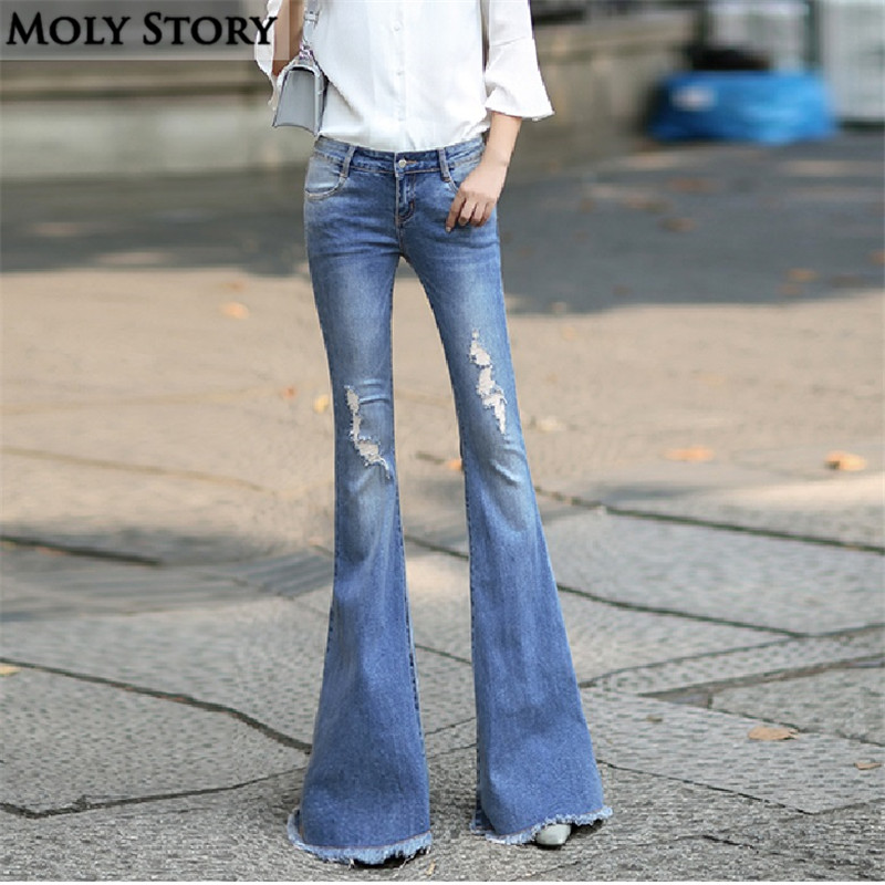 005a2cbd838 Fashion New Vintage Super Flare Jeans Sexy Middle Rise Ripped Jeans Femme  Plus Size Hippie Wide Leg Denim Pants Women-in Jeans from Women s Clothing  on ...