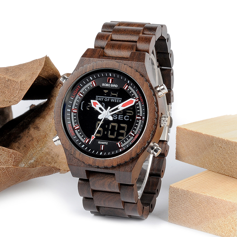 New Arrival BOBO BIRD Wooden Band Mens Watches Multinational Digital Wristwatches with Night Light and Week