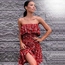 CUERLY Sexy Off Shoulder Strapless Dresses Women Summer Beach Boho Elegant Party Red Dress Ruffle Draped Print Vestidos