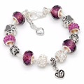 2017 new european crystal bracelet for women hot silver 925 heart charm bracelets femme glass bead jewelry Valentine's day gift