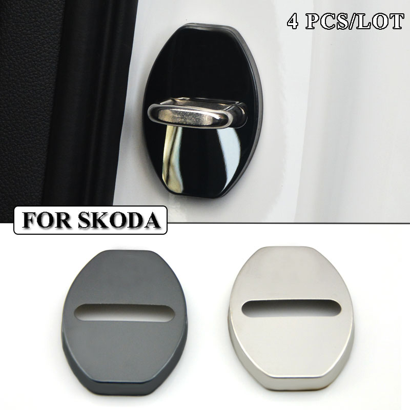 Ceyes Car Styling Stainless Steel Car Door Lock Cover Accessories Fit For Skoda Octavia A7 A5 2 Fabia Rapid Superb Car-Styling stainless steel car lock pick for bmw 5 7 series