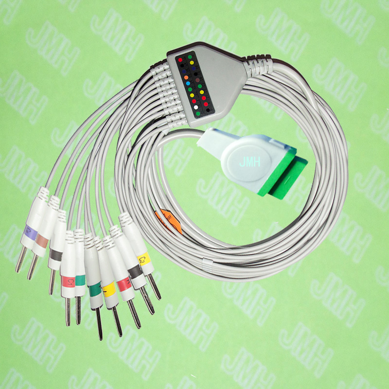 Compatible with GE,Solar,Dash,Tram,Datex Ohmeda EKG Machine,One-piece 10 lead cable and leadwires,11PIN,3.0 DIN,IEC or AHA.