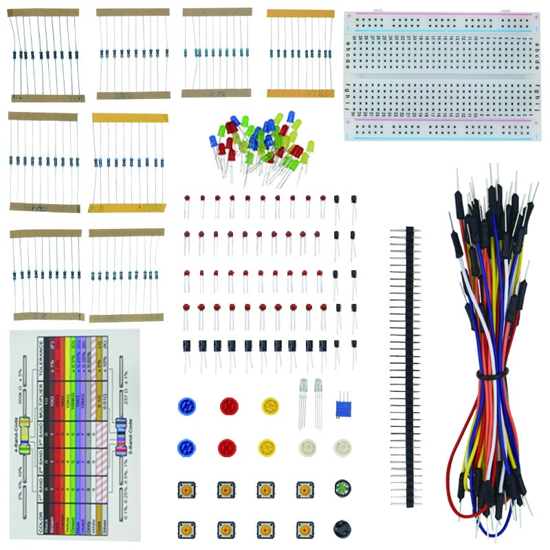 1 set Resistor LED Capacitor Jumper Wires Breadboard Starter Kit for UNO R3 Raspberry Pi 3 B + Retail Box for UNO R3 raspberry pi 3 light basic learning starter kit for diy resistors kit for uno r3 board