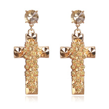 Fashion Cross Drop Earrings for Women Baroque Gold color Large Long Jewelry Brinco