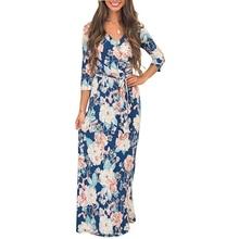 2019 Summer Women Beach Long Sashes Dresses Blue Half Sleeve V-neck Elegant Ladies Maxi Dress Print Floral Vestidos Plus Size sky blue half sleeve maxi dress