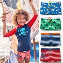 Популярные Летние плавки для маленьких мальчиков; трусы-боксеры в полоску с изображением акулы; пляжный купальник; шорты; штаны; купальный костюм; Новинка