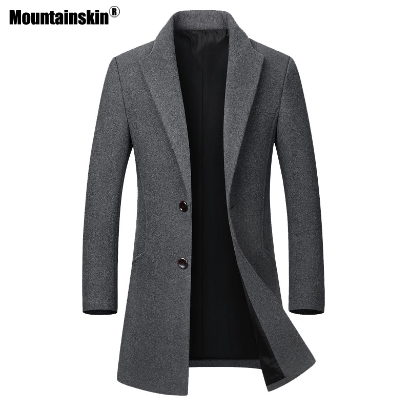 Mountainskin Men's Wool Jacket Thicken Coats Casual Slim Fit Turn Down Collar Fashion Male Trench Coat Mens Brand Clothing SA624