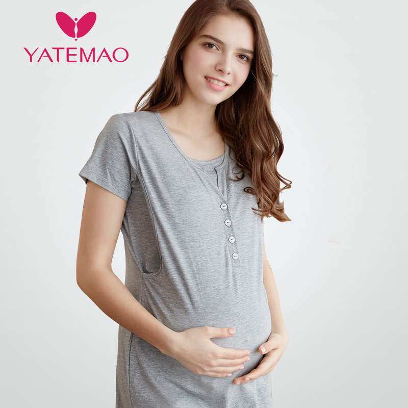 YATEMAO Short Sleeve Dress Maternity Nursing Pajama for Pregnant Women Pajamas Breastfeeding Nightgowns for Nursing Mother рога для велосипеда m wave алюминиевые резиновые прямые короткие черные литые 5 408172
